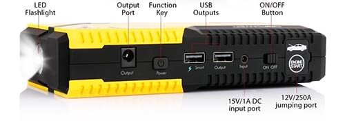dbpower usb output for charging phones portable jump starter