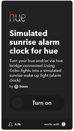 IFTTT sunrise alarm clock philips hue
