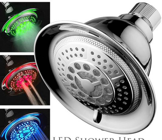 LED light up shower head