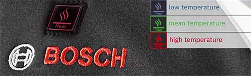 bosch battery jacket heat levels color