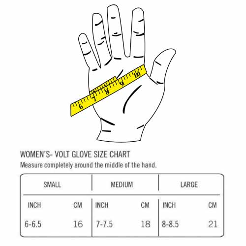 volt tetra size chart for womens heated gloves