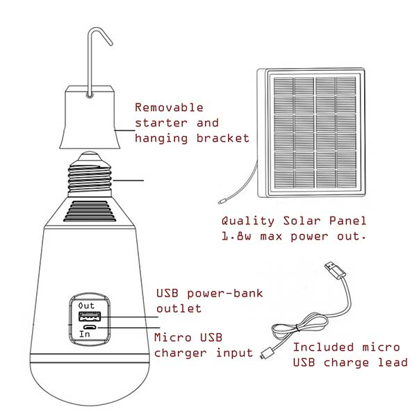 solar powered camp light bulb with internal battery