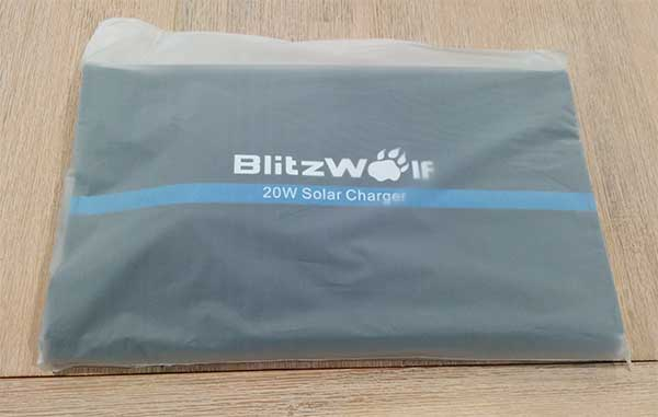 Blitzwolf solar charger wrapped in plastic