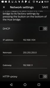 static Philips Hue Bridge IP Address
