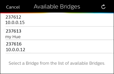 select a bridge from the list of available bridges