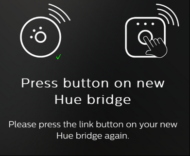 Philips hue press button on new hue bridge transfer