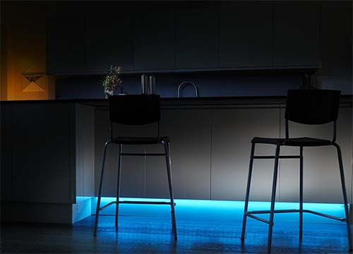 Baseboard smart lighting for the kitchen
