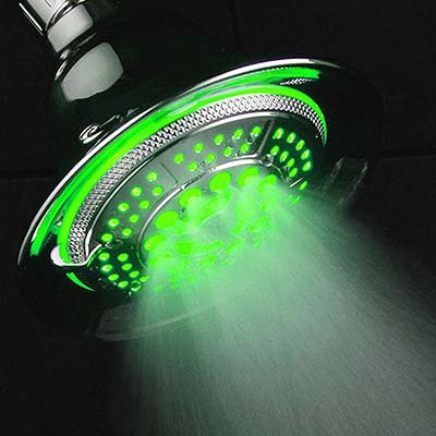 led color changing shower head green mist