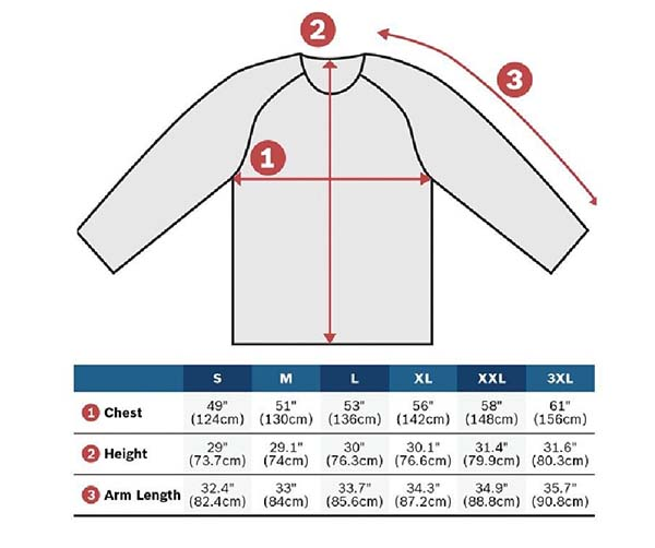 bosch heated jacket sizes