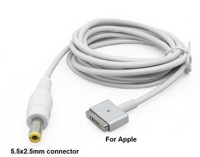 T-Head Power Bank Male Connector DC MagSafe 2 Cable For Apple Macbook Air Pro 5.5x2.5mm