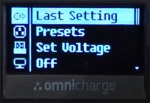 Omni20 ac dc power bank display last settings