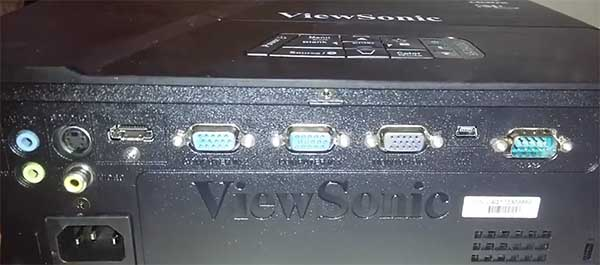 ViewSonic PJD5155 rear cable connections SVGA HDMI Projector Review
