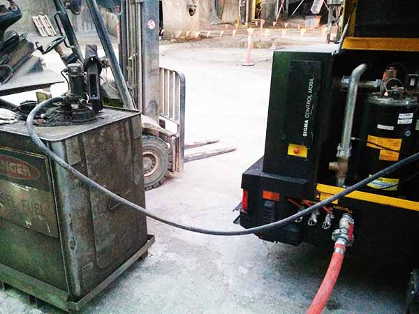 12v high volume diesel fuel transfer pump filling up an air-compressor