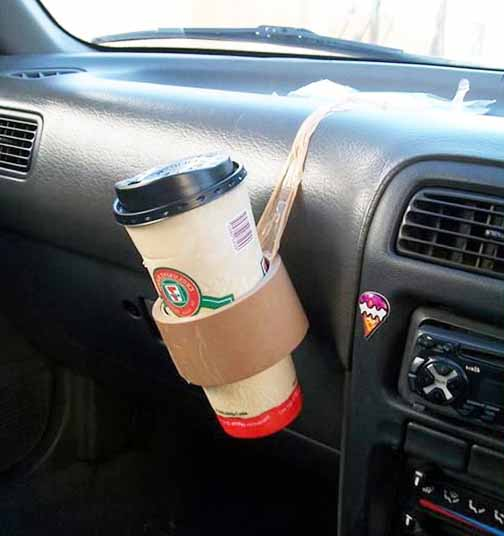 duct tape drinks holder hack for your car