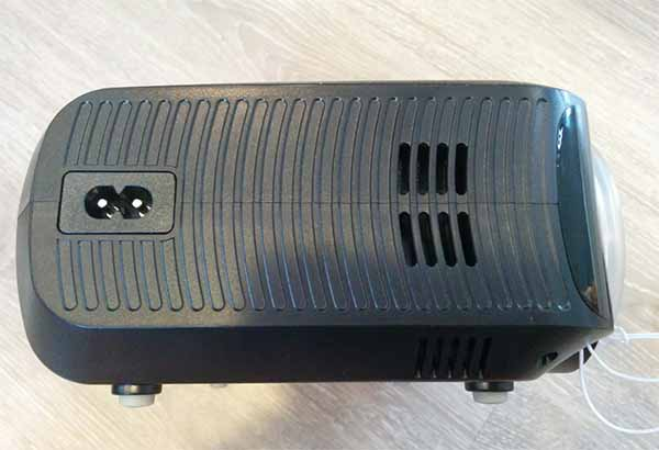 Abox A2 projector side profile power plug and air vent