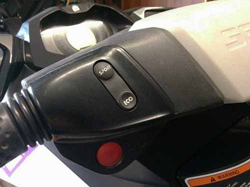 Sports and Eco mode buttons on the Sea-doo GTI 130
