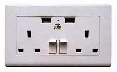 United Kingdom ac wall outlet with usb charging port