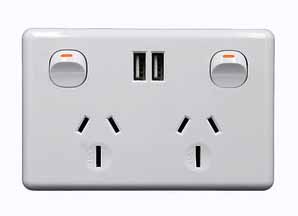 Australia ac wall outlet with usb charging port