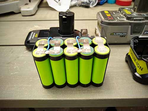 Lithium-ion batteries from a clone aftermarket Ryobi 4ah 18v battery pack