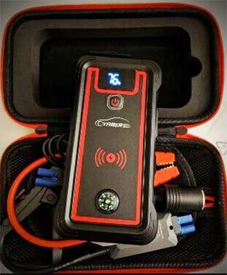 Yaber jump starter comes with a padded carry case