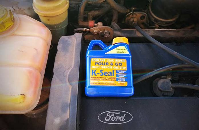 How to fix coolant leaking from engine block without tools k-seal