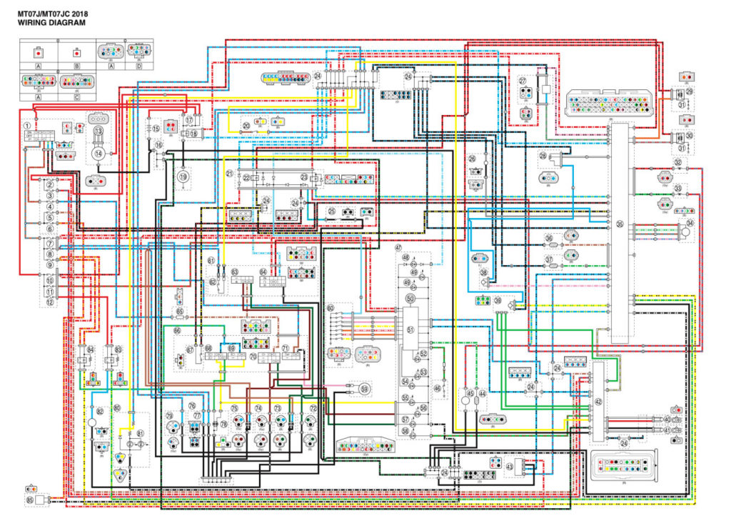 Yamaha wiring diagram for MT07 2018 to help with Yamaha Fault Code list