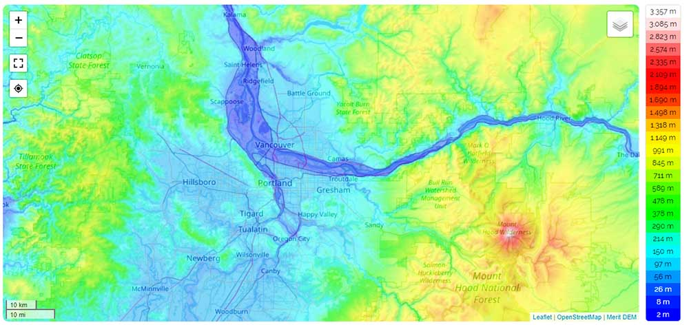 Topographic map of Vancouver Portland.